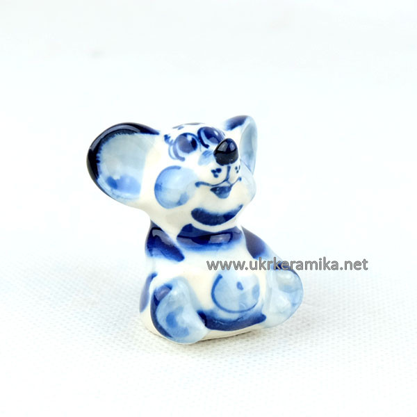 Мышка Масик гжель 4,5х4 см - сувенир гжель украинского производства