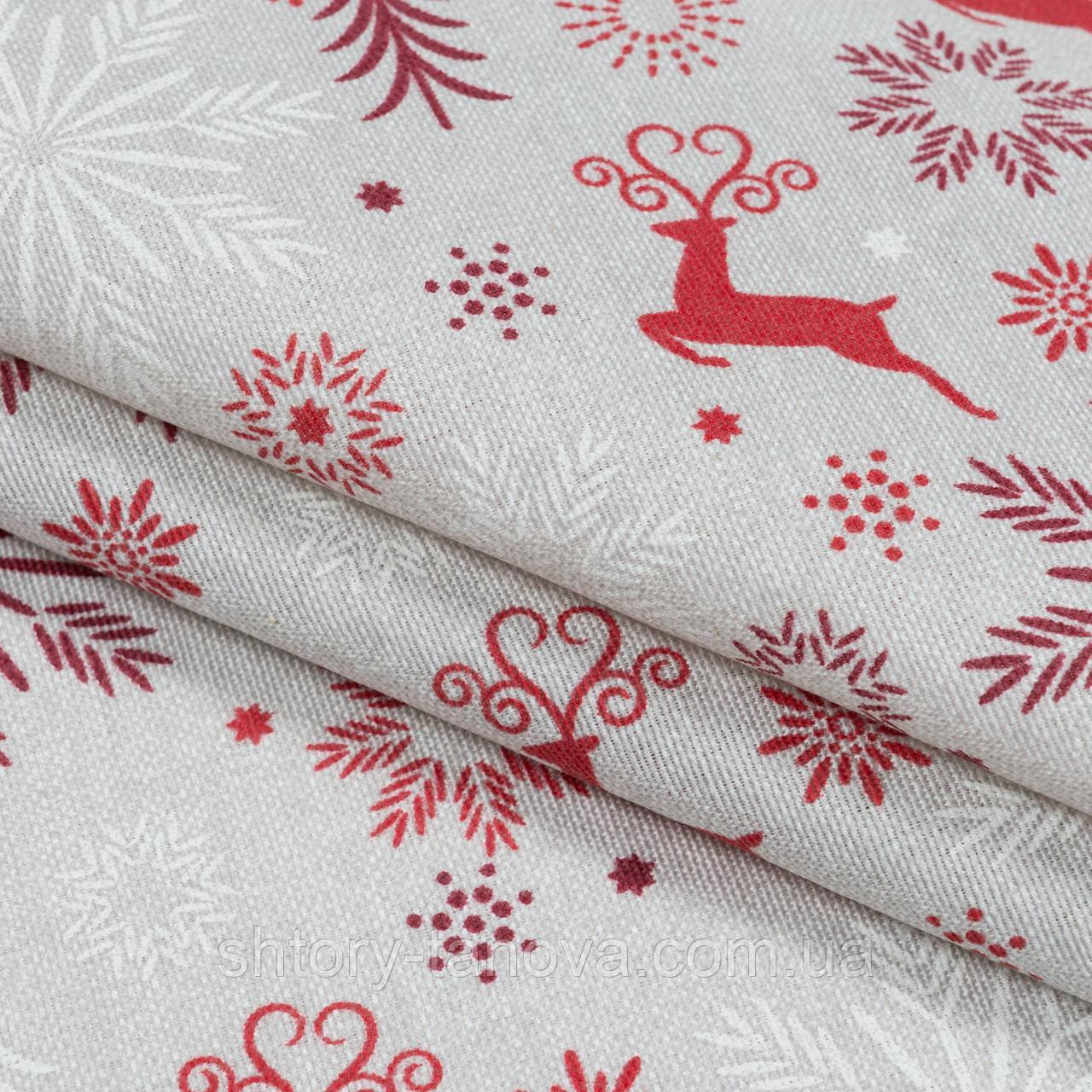 Декоративная новогодняя ткань с принтом олени на сером фоне Ткани для штор на метраж с пошивом