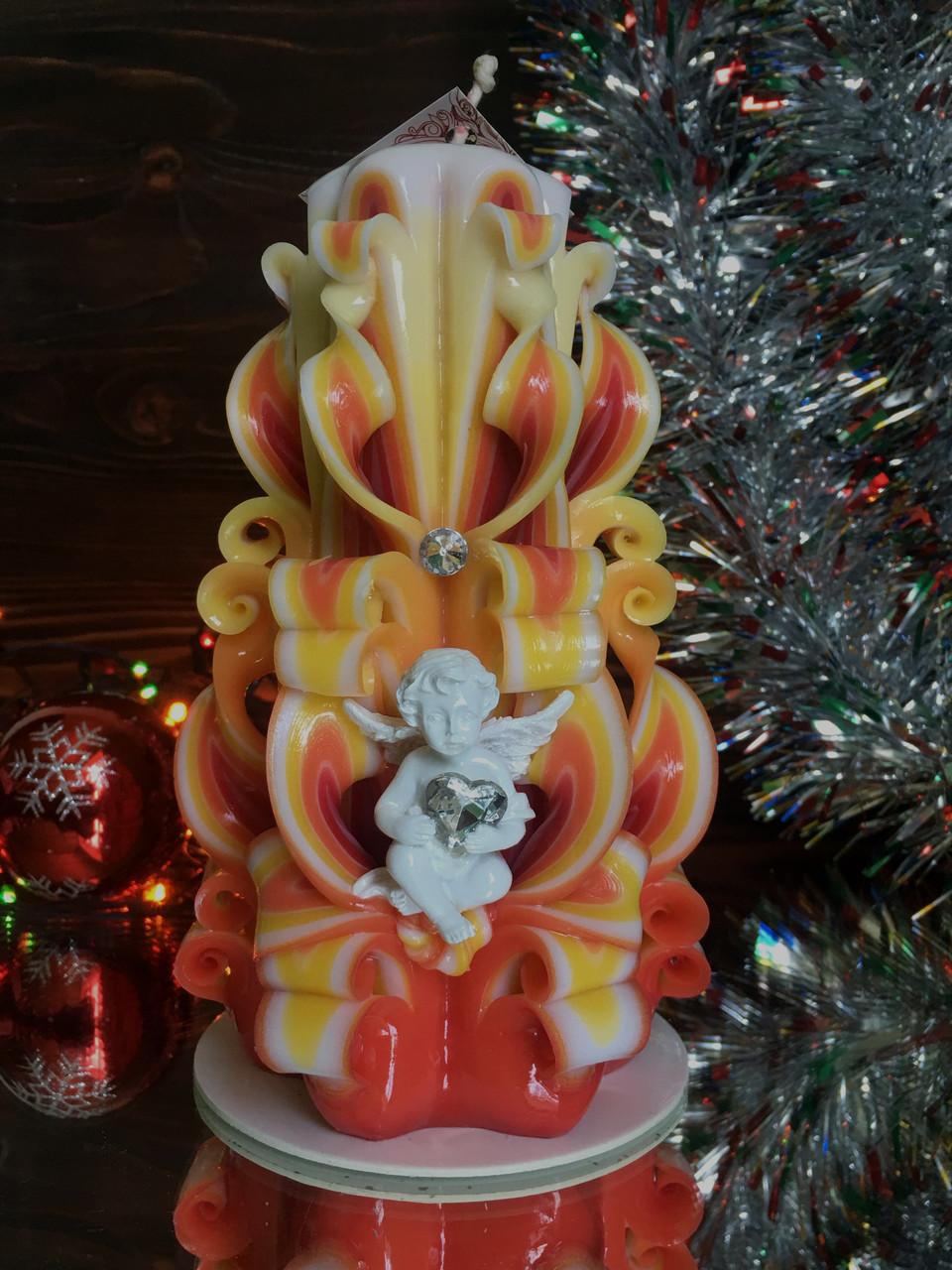 Свеча новогодняя, ручная работа, красиво украшена Ангелочком