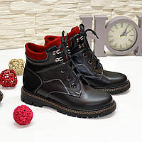 Ботинки подростковые комбинированные для мальчика, черно-красного цвета