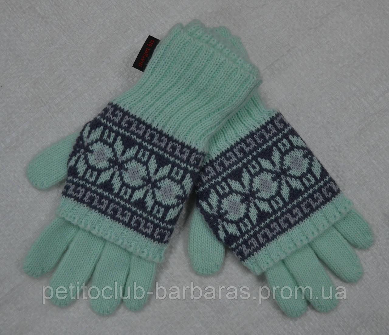 Перчатки с митенками Alina для девочки мята (MargotBis, Польша)