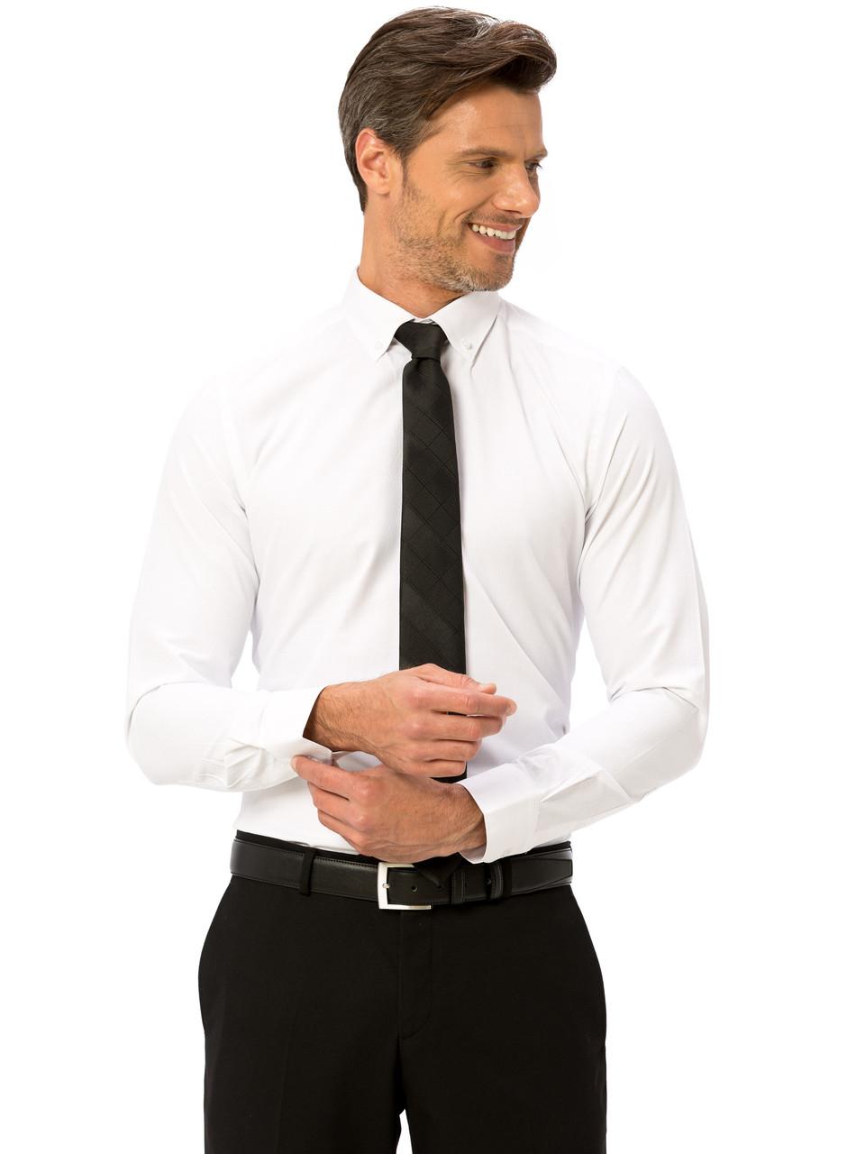Белая мужская рубашка LC Waikiki / ЛС Вайкики в белый мелкий ромбик, с пуговицами на воротнике