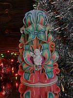 Новогодняя свеча ручной работы резная с красивым ангелом