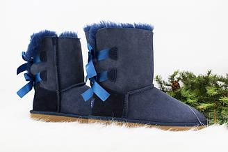 Оригинальные угги женские короткие UGG Bailey Bow Blue | Угги Австралия классик шорт зимние