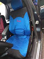 Универсальные чехлы Racing, комплект для всех сидений, перфорация, дышащие. Синий цвет