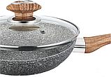 Сковородка Benson BN-543 26 см с крышкой и серо-бело-черным гранитным покрытием, фото 3