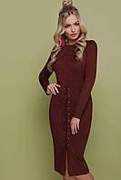 Коричневое замшевое платье со шнуровкой, фото 1