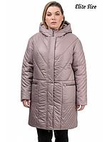 Зимняя куртка женская батал (баклажан, черный, бежевый, волна ) р: 50,52,54,56