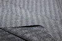 Ткань плотная жакетная, формодержащая  (без эластана) №378 елочка серая, фото 1