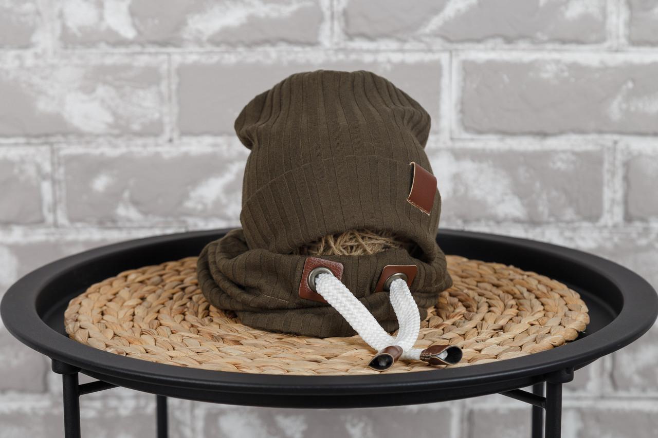 """Набір шапочка з снудом """"Hills"""", хакі"""