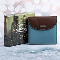 Маленький женский кожаный кошелек Kafa с RFID защитой (419 coffee-sky blue)
