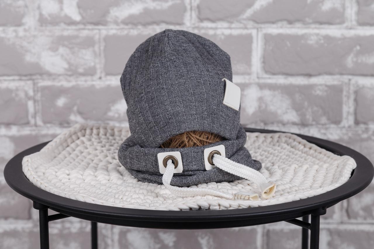 "Набор шапочка со снудом ""Hills"", серый меланж"