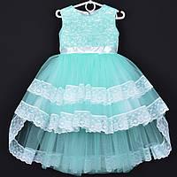 """Платье нарядное детское """"Кэти"""" с удлиненной сзади юбкой. 3-4 года. Мята. Оптом и в розницу"""