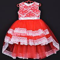 """Платье нарядное детское """"Кэти"""" с удлиненной сзади юбкой. 3-4 года. Красное. Оптом и в розницу"""