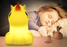 Силиконовый ночник детский Click Единорог (ночные зверята) 12 см