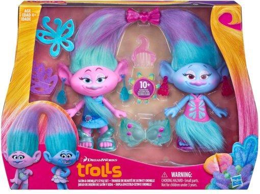 Hasbro Тролли/Trolls игрушки-Модные Тролли-близнецы Сатин и Шенилл B6563