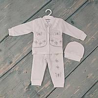 Одежда на крещение для девочки (велюр), р. 3-6 мес