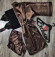 Набор домашней одежды из атласа халат+топ+шорты АТ-1120