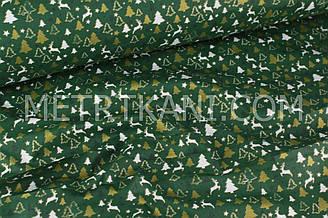 "Новогодняя ткань  ""Мини олени с ёлочками "" (глиттер) на темно-зеленом фоне  № 247"