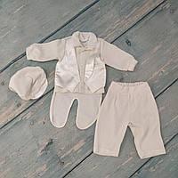 Нарядный костюм для мальчика на крещение (4 предм., велюр, р. 62-68)