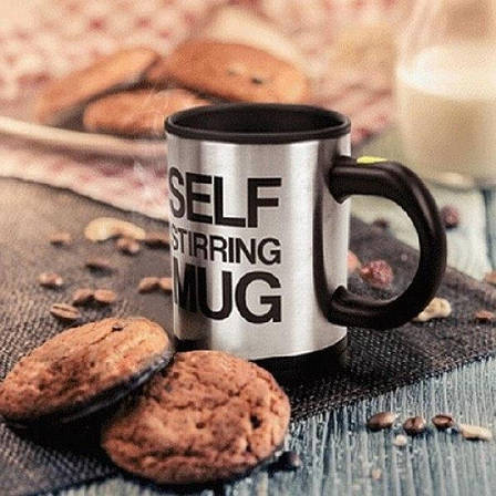 Кружка мешалка Self Stirring mug Чашка автоматическая Черная, фото 2