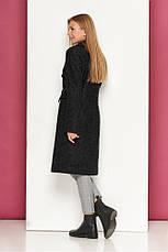 Светло-серое демисезонное женское пальто из шерсти полуприлегающий силует Р-40 размер 42 44 46 48, фото 3