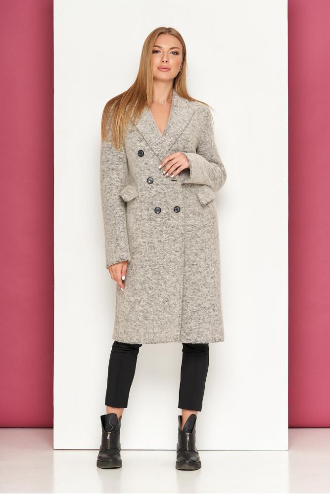 Светло-серое демисезонное женское пальто из шерсти полуприлегающий силует Р-40 размер 42 44 46 48