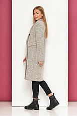 Светло-серое демисезонное женское пальто из шерсти полуприлегающий силует Р-40 размер 42 44 46 48, фото 2