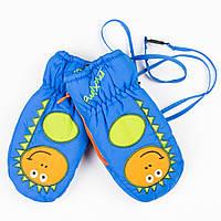 Зимние детские непромокаемые варежки-краги для мальчиков №19-12-14 синий, фото 1