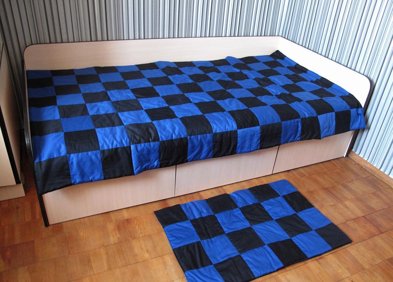 Лоскутное двухцветное покрывало Черный - Синий 120х205. Коврик в подарок