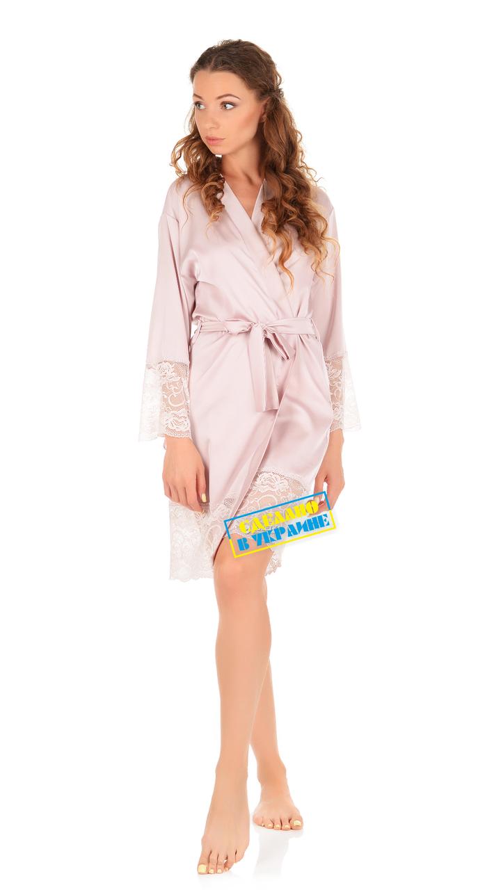 Шелковый халат с кружевом Martelle Lingerie (Пудра)