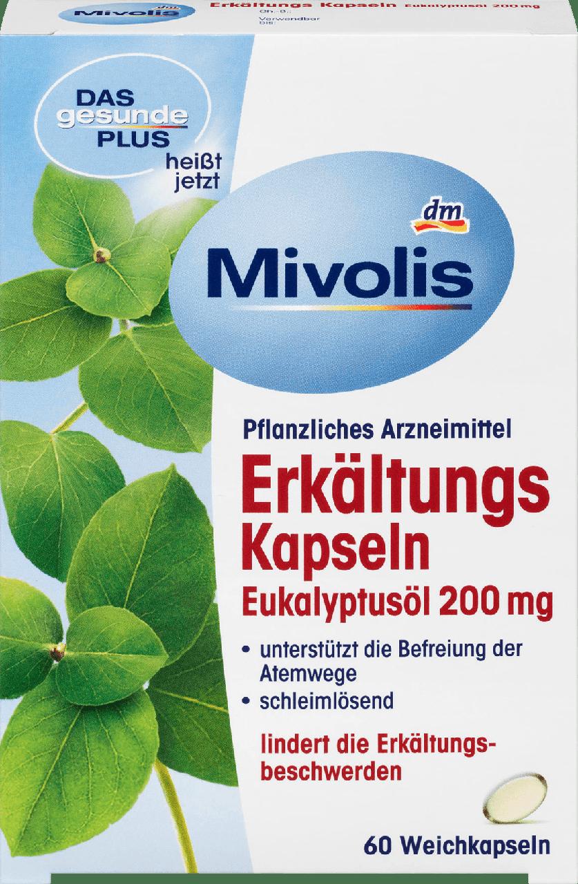 Леденцы от боли в горле Mivolis Erkältungskapseln mit Eukalyptusöl  200 mg, 60 шт