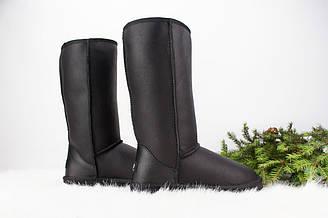 Женские угги высокие кожаные UGG Tall Bomber metallic black Australia | Угги женские Австралия Тол Бомбер