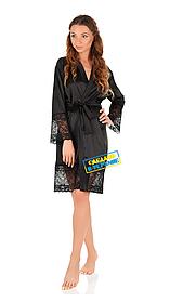 Шелковый халат с кружевом Martelle Lingerie (Черный)