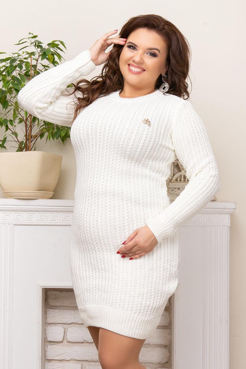 Теплое платье полубатал белый р. 46-54