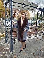 Пальто женское с мехом песца ПТ-13