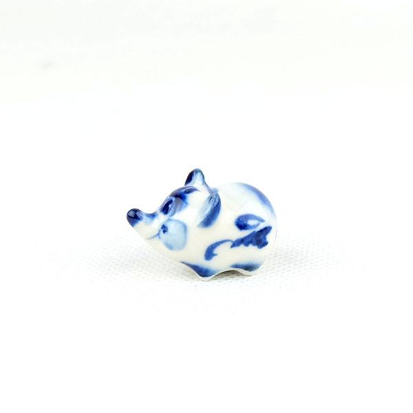 Мышка Пупс гжель 2х3 см - сувенир гжель украинского производства