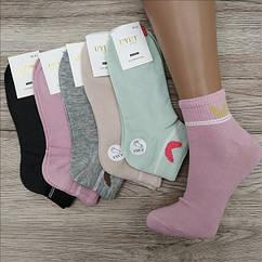Носки женские средние деми UYUT women cotton socks хлопок 36-41р.бесшовные с двойной пяткой ассорти НЖД-021358