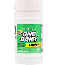 """Вітаміни і мінерали, 21st Century """"One Daily Energy"""" постачає енергією на весь день (75 таблеток)"""