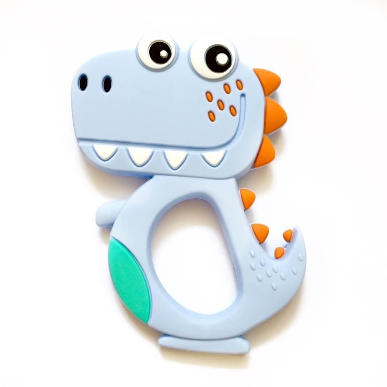 Динозавр зубастик (беби блю), силиконовый прорезыватель для зубов