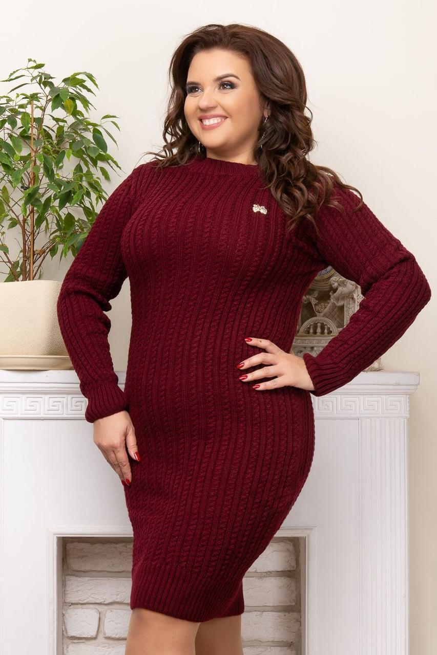 Мега стильное платье больших размеров бордовый