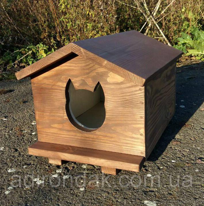 Утеплена будка для котика (30х40 коричнева)