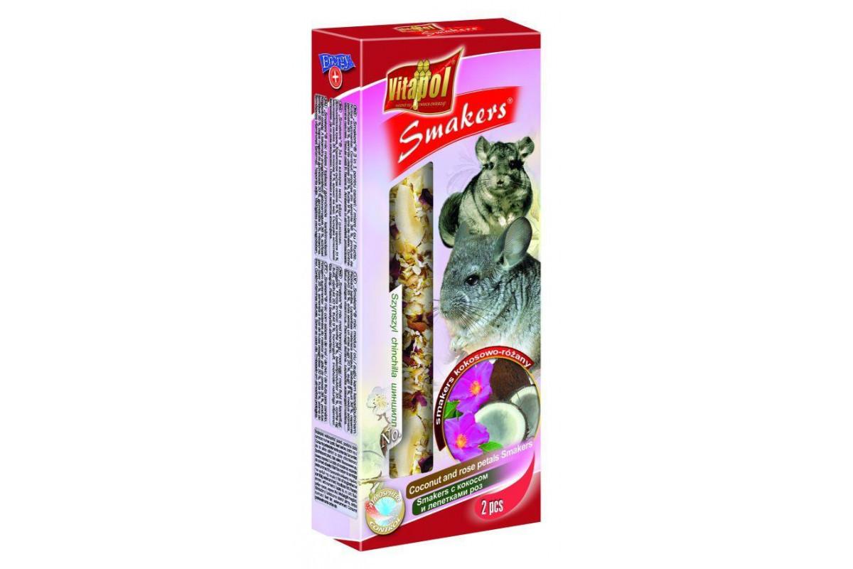 Корм Vitapol Smakers Витапол колба для шиншил кокос та пелюстки троянд 2 шт/уп