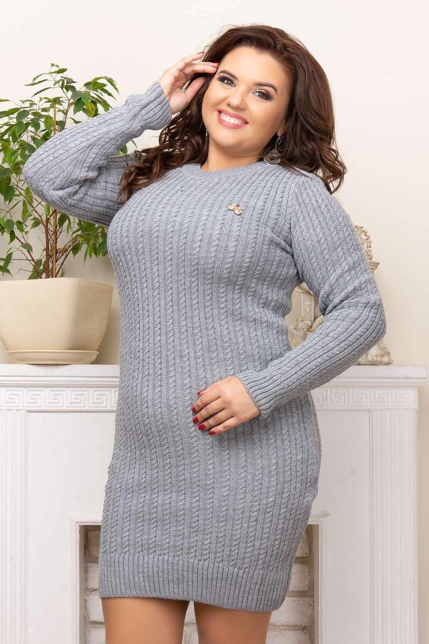 Платье на осень больших размеров серый