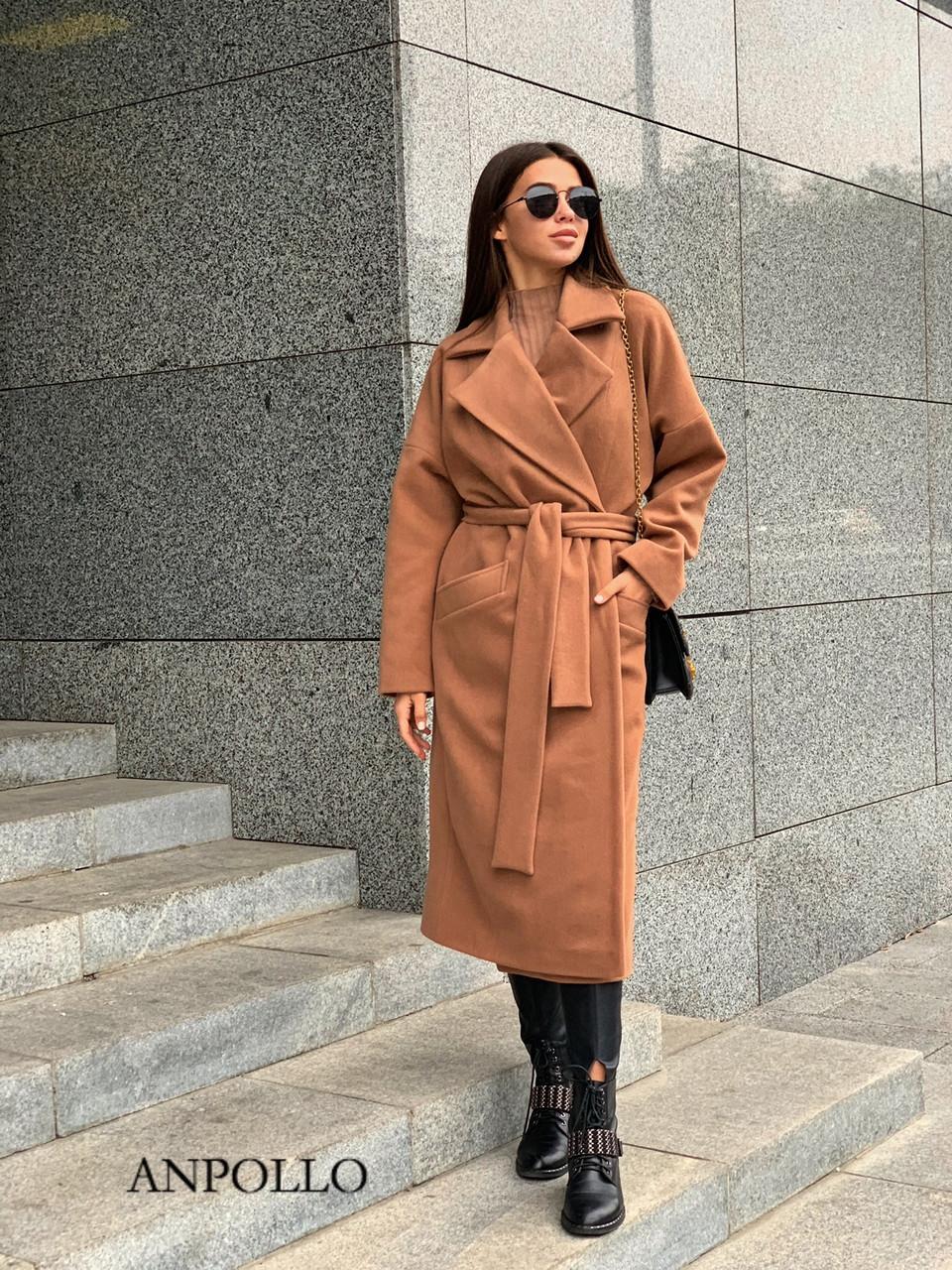 Кашемировое Пальто женское миди под пояс с отложным воротником 17pt236