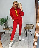 Телый женский спортивный костюм из трехнитки с худи 63so799