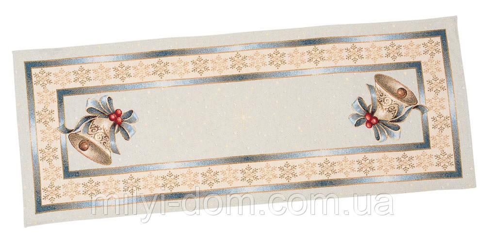 """Наперон\дорожка на стол  """"Рождество в Карпатах"""",  45х140 см, люрекс"""