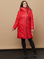 Женское плащевое Пальто в больших размерах с косой молнией и капюшоном 31ba318