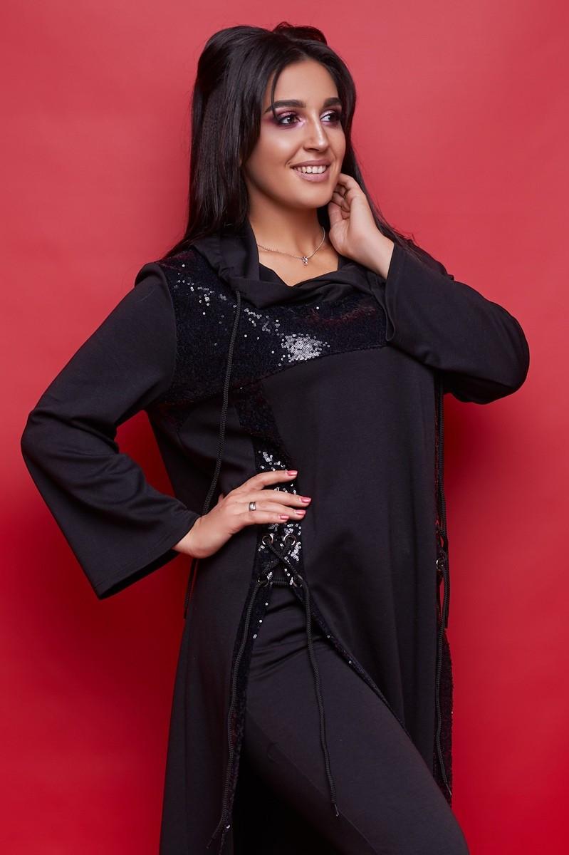 Женский комбинированный трикотажный костюм брюки и туника с капюшоном. Размеры:50-62.