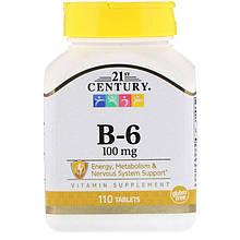 """Вітамін В6, 21st Century """"Vitamin B-6"""" 100 мг (110 таблеток)"""
